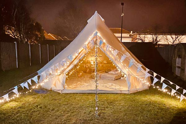 Home Glamping bell tent hire night